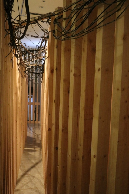 Part of the spatial installation built by Samar Maquisi, 'superimposing' part of Burj al-Barajneh refugee camp in the gallery space. (c) E. Fiddian-Qasmiyeh