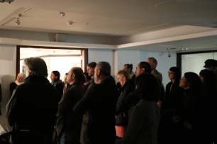 Visitors to the Opening Night of Samar Maqusi's spatial installation, Space of Refuge. (c) E. Fiddian-Qasmiyeh