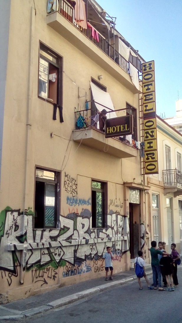 A squatted building home to around 140 refugees and asylum seekers in Athens (c) T. Zaman